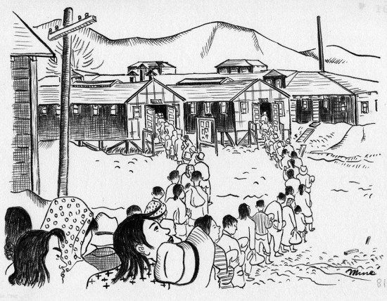 """Miné Okubo, """"Waiting in lines, Tanforan Assembly Center, San Bruno, California,"""" 1942. Drawing. Courtesy of Japanese American National Museum, gift of Miné Okubo Estate, 2007.62."""