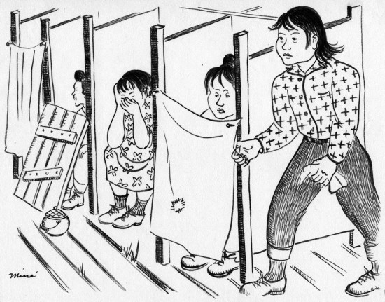 """Miné Okubo, """"Community toilets, Tanforan Assembly Center, San Bruno, California,"""" 1942. Drawing. Courtesy of Japanese American National Museum, gift of Miné Okubo Estate, 2007.62."""