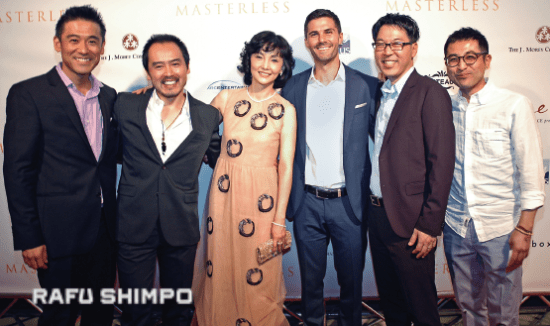 "Kaho Minami was on hand for the Sept. 30 world premiere of ""Masterless"" at the Egyptian Theatre in Hollywood with cast members (from left) Yutaka Takeuchi, Eijiro Ozaki and Adam LaVorgna, director Craig Shimahara, and executive producer Keita Ideno. (MIKEY HIRANO CULROSS/Rafu Shimpo)"
