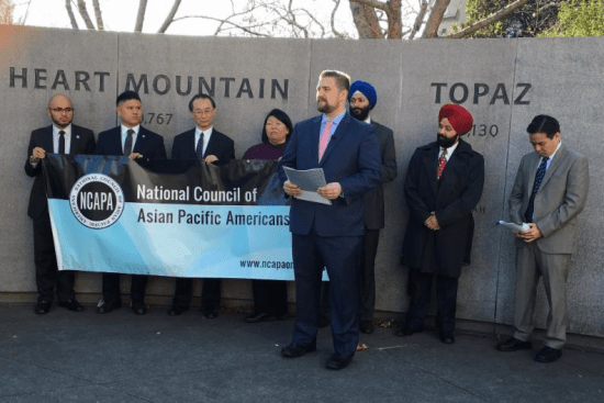 National JACL President David Lin with other NCAPA leaders speaking out against anti-Muslim hate. (Photo by Merissa Nakamura)