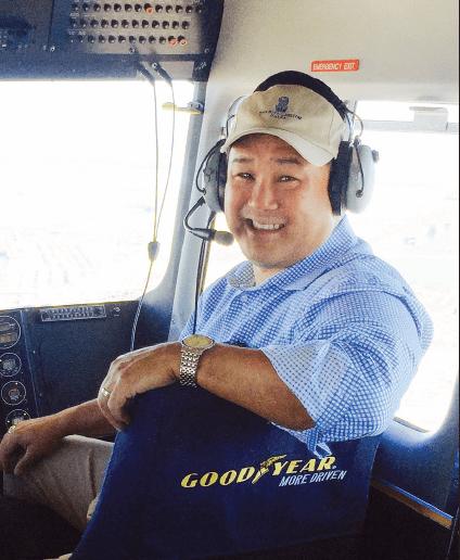 Judd Matsunaga rides aboard the Goodyear Blimp.