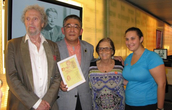 """From left: Leon Prochnik, Tetsuya Sugihara, Arlene Milrad, whose father was among the """"Sugihara Survivors,"""" and her daughter Robyn Klitzky."""