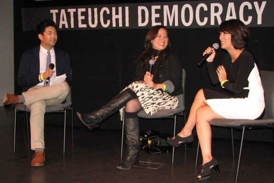 Phil Yu moderates a conversation with Shannon Lee and Diana Lee Inosanto at JANM's Tateuchi Democracy Forum.