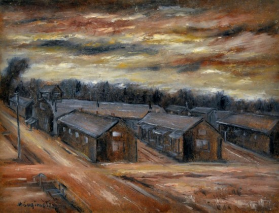 """Henry Sugimoto, """"Camp, Crisscrossed Roadways,"""" oil on board, Japanese American National Museum, gift of Madeleine Sugimoto"""