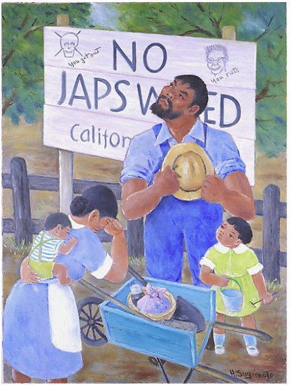 """Henry Sugimoto, Untitled (""""No Japs Wanted""""), oil on canvas, gift of Madeleine Sugimoto and Naomi Tagawa"""