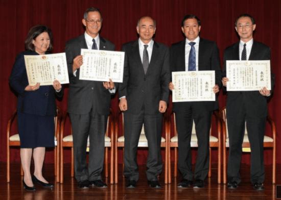 From left: Irene Hirano, Cal Shintani, Ambassador Kenichiro Sasae, Michael Cardarelli, David Lin. (Courtesy Embassy of Japan)