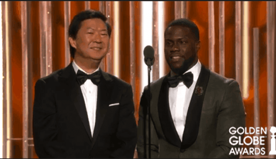Ken Jeong and Kevin Hart at the Golden Globes.