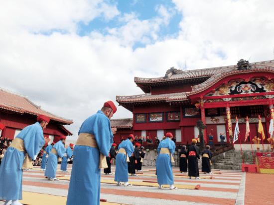 A re-enactment of a Ryukyu Kingdom-era New Year's ceremony held at Shuri Castle in Okinawa. (Photo by Izumi Inoue)