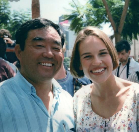 """Fumio Demura with Hillary Swank, star of """"The Next Karate Kid."""""""