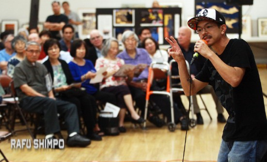 Kyle Toyama performed an impassioned freestyle spoken-word piece at GVJCI's 2016 Day of Remembrance program. (MARIO G. REYES/Rafu Shimpo)