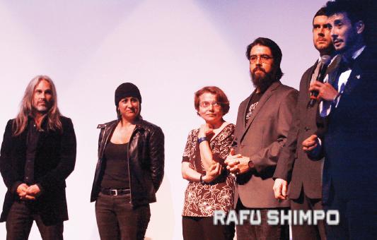 "The U.S. production team of ""Kyō/Today/今日"" includes (from right): Austin Augur II, Adam Brick, Chris De La Cruz, Ashley Wittmann, Heather Auger, and Seth von Paulus."