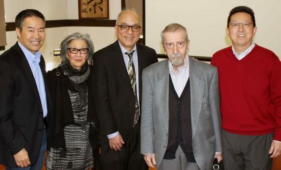 m left: Tom Ikeda, executive director of Densho; panelist Barbara Takei; panelist Frank Abe; panelist Roger Daniels; and David K. Yoo, director of the UCLA Asian American Studies Center.  (Photo by Martha Nakagawa)