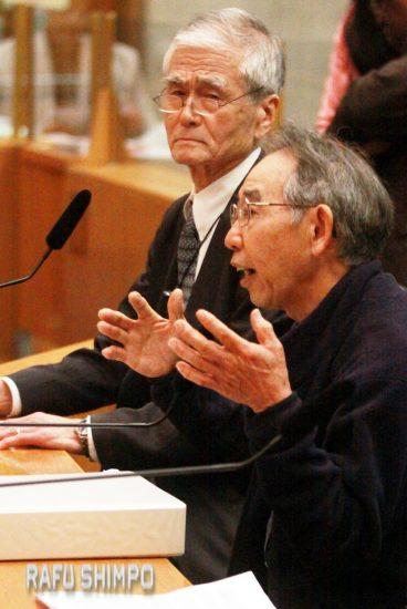 Dr. Kenji Irie (left) and David Watanabe address the supervisors.