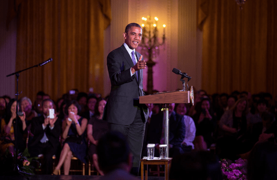 President Barack Obama delivers remarks at the Asian American and Pacific Islander Heritage Month celebration in the East Room of the White House, May 28, 2013. (Official White House Photo by Lawrence Jackson)