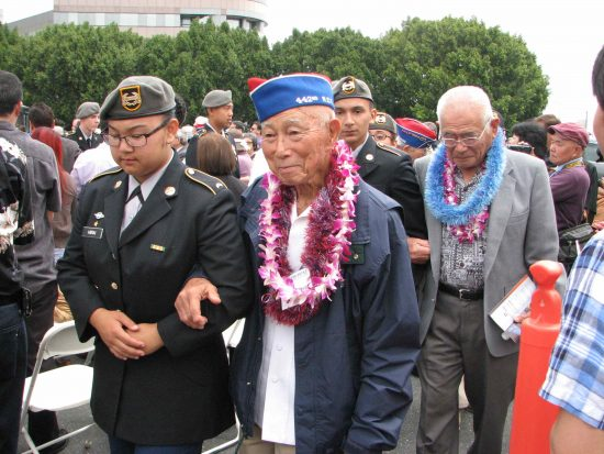 Members of North Torrance Junior ROTC escorted the veterans from the monument to the GFBNEC building.