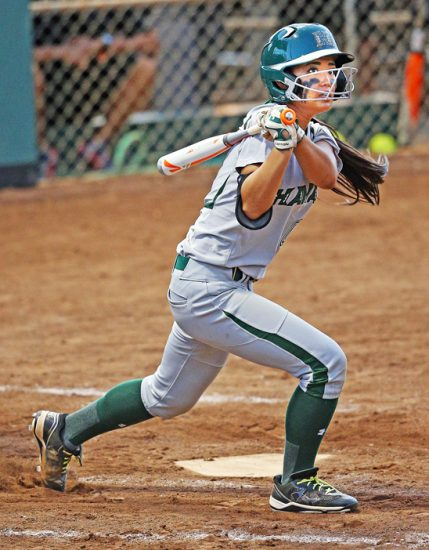 In her frosh year at Hawaii, Iseri had an on-base percentage of .302. (Photo courtesy UH Sports Media Relations)