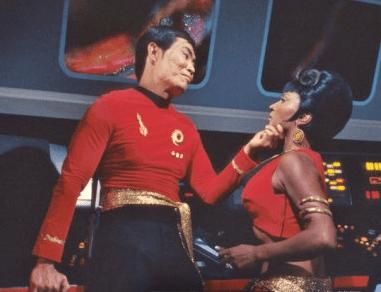 "Sulu (George Takei) getting aggressive with Lt. Uhura (Nichelle Nichols) in 1967's ""Mirror, Mirror"" episode."