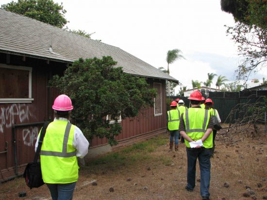 Reporters walk through the Historic Wintersburg site.