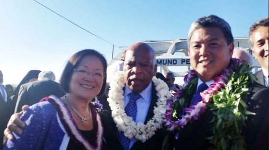 """Rep. Mark Takai, Rep. John Lewis (D-Ga.) and Sen. Mazie Hirono (D-Hawaii) visited Selma, Ala. last year to mark the 50th anniversary of the """"Bloody Sunday"""" march."""
