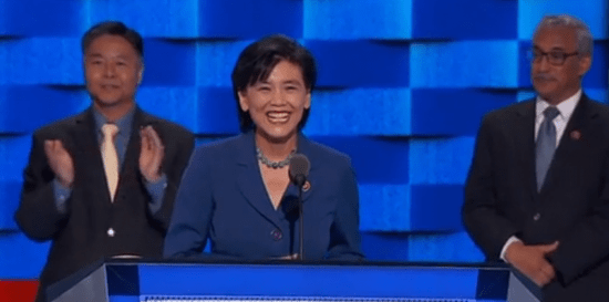 Rep. Judy Chu of Pasadena, the first Chinese American woman elected to Congress, addresses the Democratic National Convention. At left is Rep. Ted Lieu of Los Angeles; at right is Rep. Bobby Scott of Virginia. (NBC News)