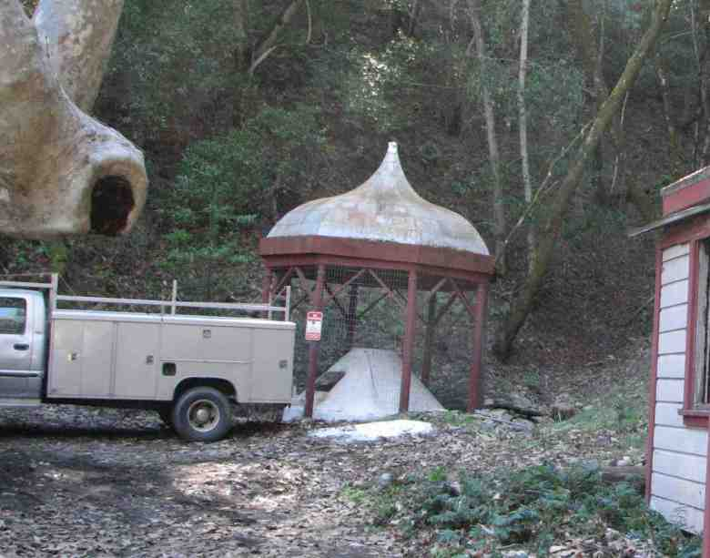 Vintage gazebo that stands atop the point where the hot springs emerge.