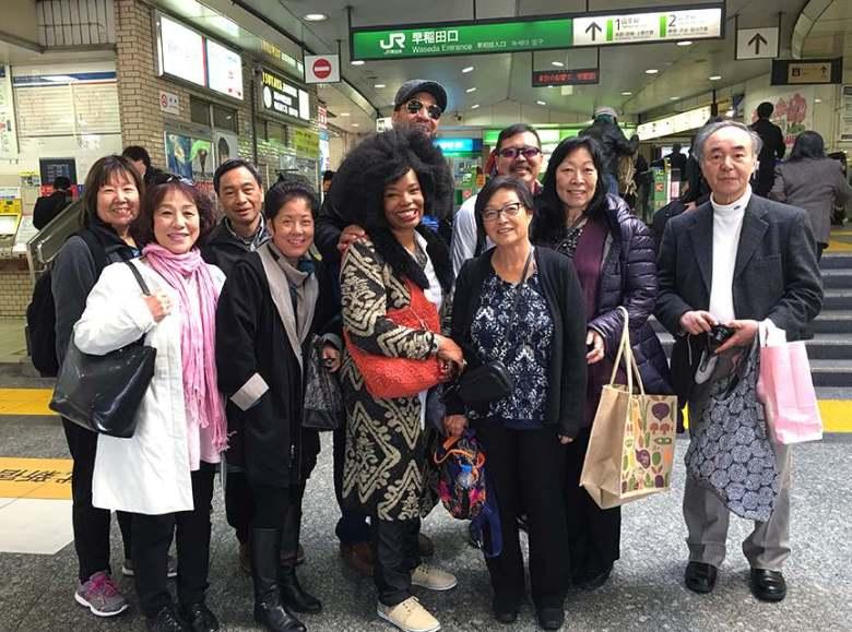 At JR Takadanobaba Station in March 2016, commemorating the 40th anniversary (1975-76) of attending the Waseda University Kokusaibu program are (from left) Iris (Orikasa) Tomita, Takako Kazaoka (recently retired CSU advisor at the Kokusaibu), Stephanie (Nishi) Quitugua, Gael (Brown) Pullen, Amy Kato, and Arlene (Fushiki) Yee. (Photo courtesy of Amy Kato)