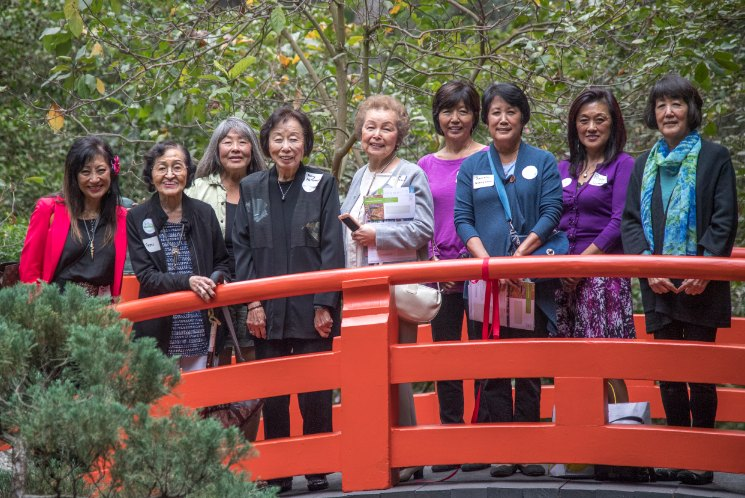 The women who served tea in Descanso Gardens' Japanese Garden starting in the 1960s and 1970s reunite. (Photo by Martha Benedict)