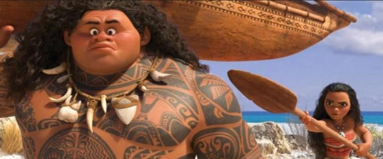 """Maui (Dwayne Johnson) and Moana (Auli'i Cravalho) in a scene from Disney's """"Moana."""""""