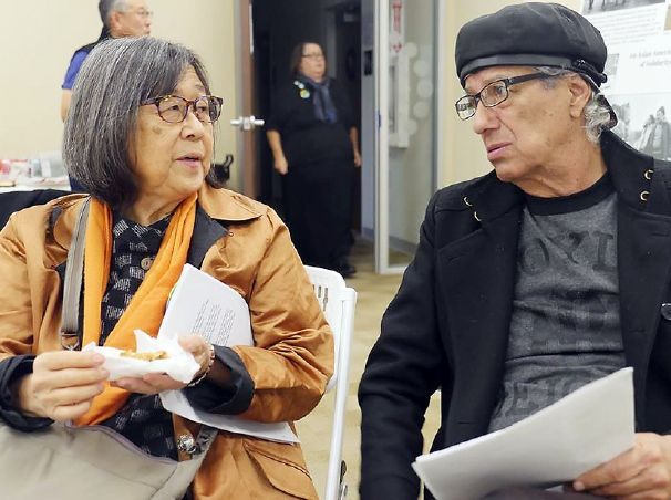 At the fundraiser, Kathy Masaoka spoke about her experience at Wounded Knee in 1973, when Asians Americans traveled there in solidarity with American Indians. Ruben Guevara read his poem about the pipeline struggle.