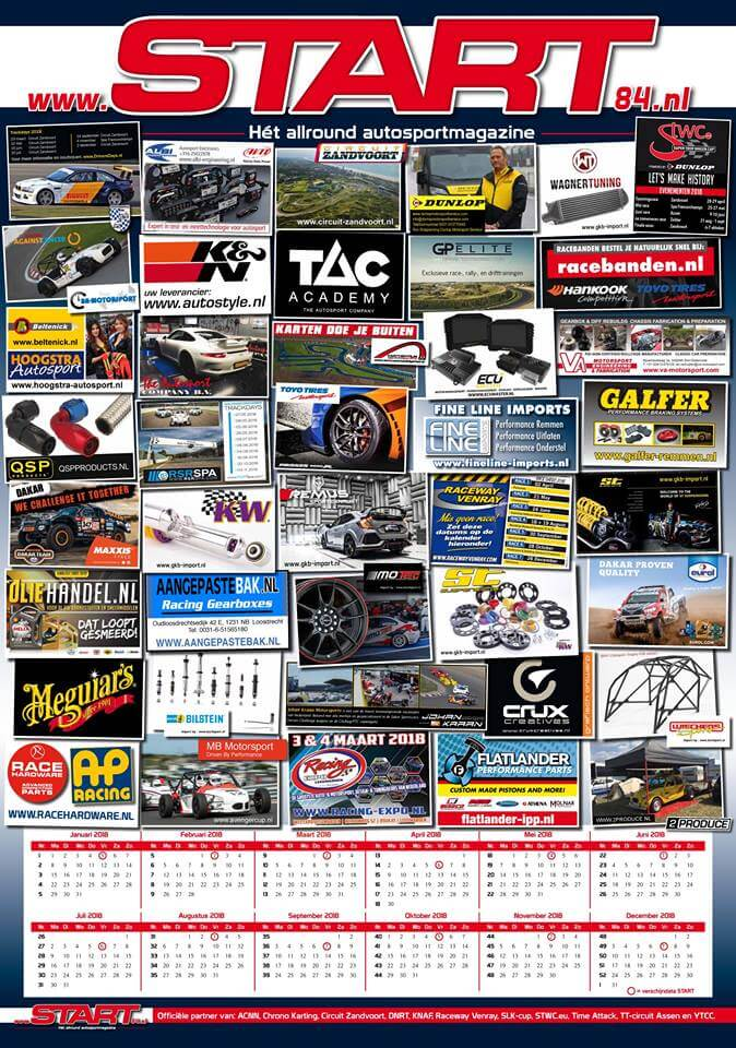 kalenderposter 2018 van START '84 autosportmagazine