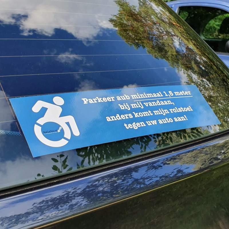 Rolstoel-sticker auto afstand houden ivm handicap of beperking van ragasto door reuma