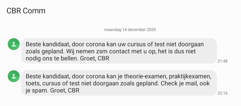 screenshot van een sms bericht vanuit het cbr dat ik na mijn laatste gewenningsles kreeg waarin stond dat de rijtest vanwege coronamaatregelen niet doorgaat
