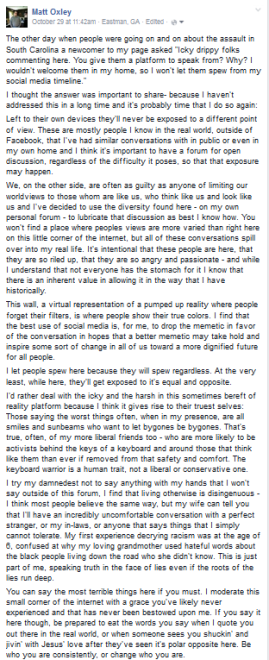 The Rules of Engagement for my personal Facebook wall - posted recently.