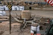 Ensembles des tuyaux du bassin de Latone en cours de restauration