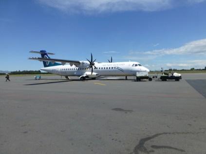 Notre avion Christchurch-Wellington sur le tarmac au départ