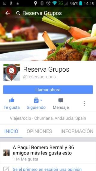 Pagina de empresa Reserva Grupos movil