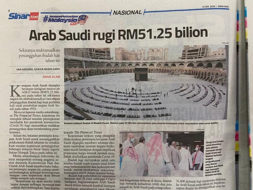 Arab Saudi kerugian besar jika membatalkan ibadah haji pada 2020 kerana covid-19
