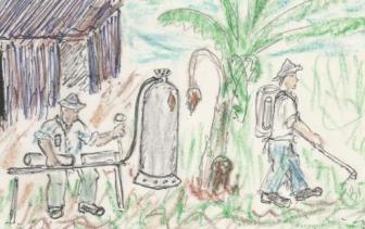 ריסוס בבנות, ציור: שמעון יעקובי