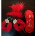 Red Metal Cuffs with Blindfolds & Feathers