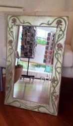 Jugendstil Spiegel Weissblattgold mit Ornament