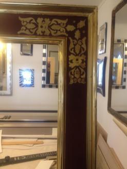 Renaissancerahmen mit Spiegel Orangeblattvergoldet mit Ornament