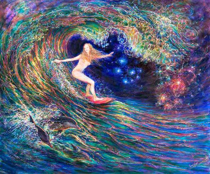 Suggest Title for Girl Surfing Wave Tube painting