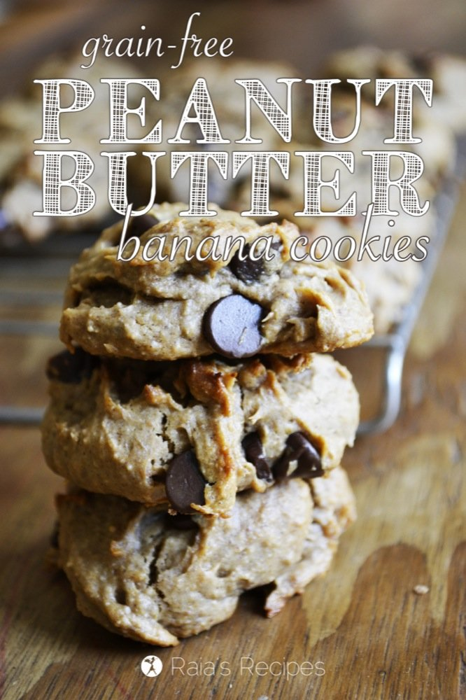 Peanut Butter Banana Chocolate Chip Cookies | grain-free, gluten-free, egg-free, dairy-free, refined sugar-free | RaiasRecipes.com