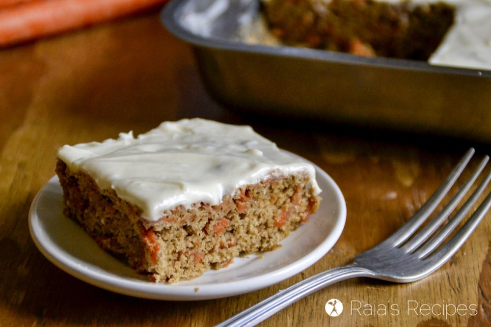 Allergy-friendly and 100% delicious, this Personal Pan Carrot Cake with Honey-Sweetened Cream Cheese Frosting is an easy treat to whip up when you need something sweet, but don't want to overdo the sugar. RaiasRecipes.com