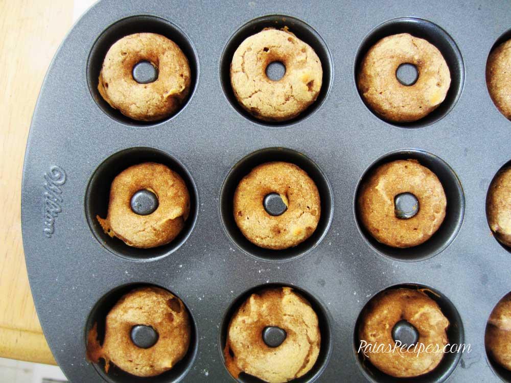 Mini Cinnamon Pumpkin Doughnuts | gluten-free, egg-free, dairy-free | RaiasRecipes.com