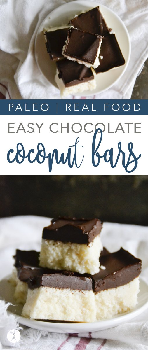 Easy and delicious, these paleo Chocolate Coconut Bars are a hit wherever they're served! With only a few real-food ingredients, you'll be devouring them in no time. #chocolate #coconut #paleo