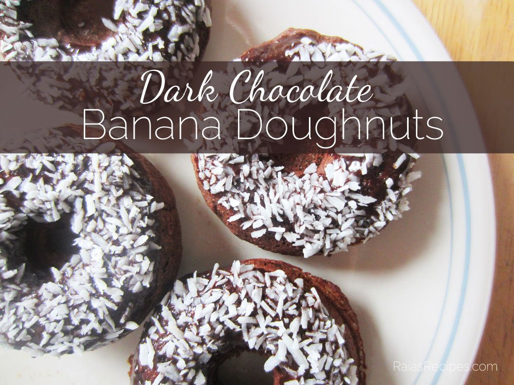 Dark Chocolate Banana Doughnuts   gluten-free, egg-free, dairy-free   RaiasRecipes.com