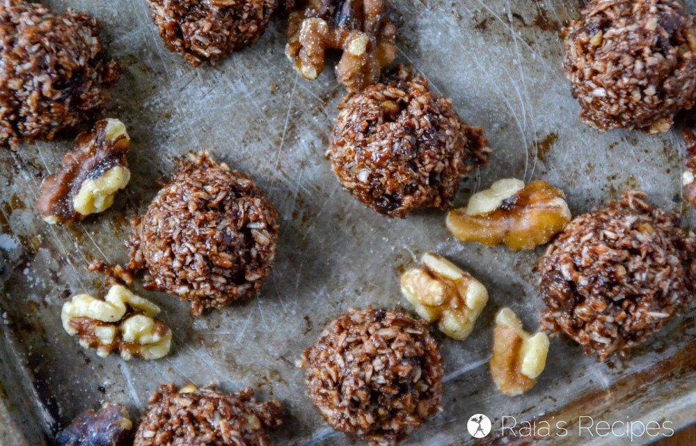 Dark Chocolate Walnut Coconut No-Bake Cookies