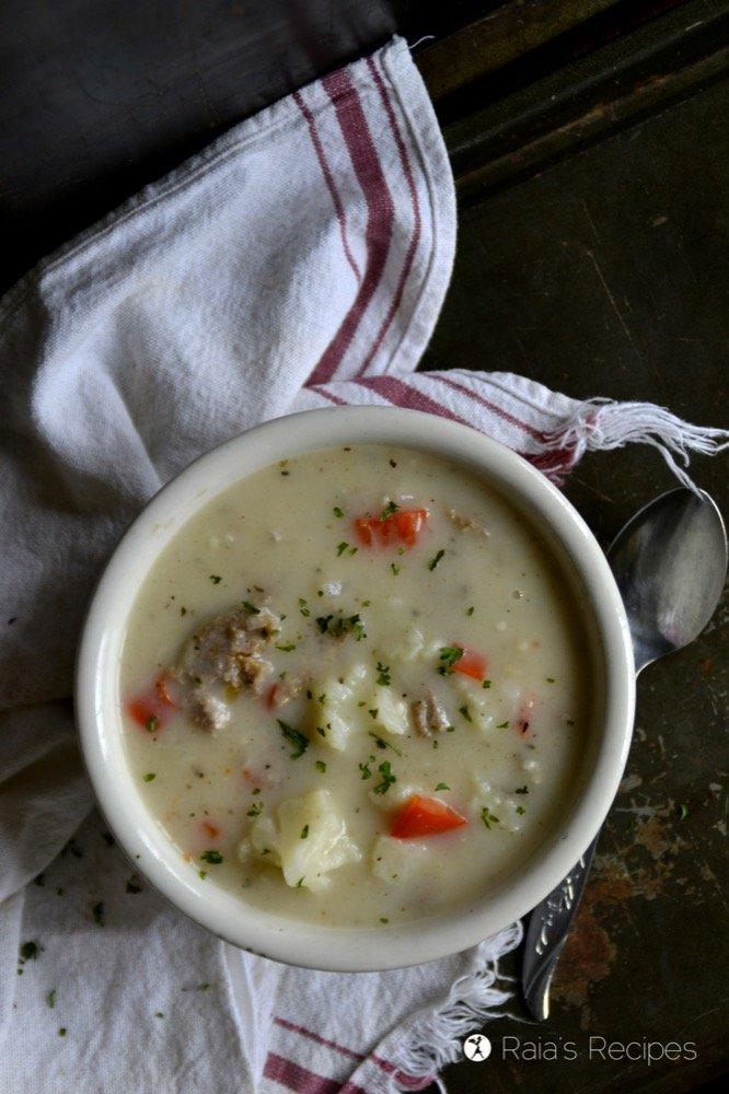 Red Pepper, Sausage & Cauliflower Soup