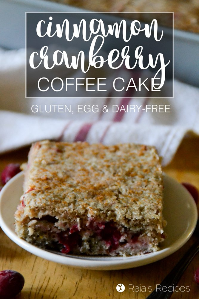 Full of festive, allergy-free goodness, this Cinnamon Cranberry Coffee Cake is the perfect breakfast or brunch for the holidays!   RaiasRecipes.com